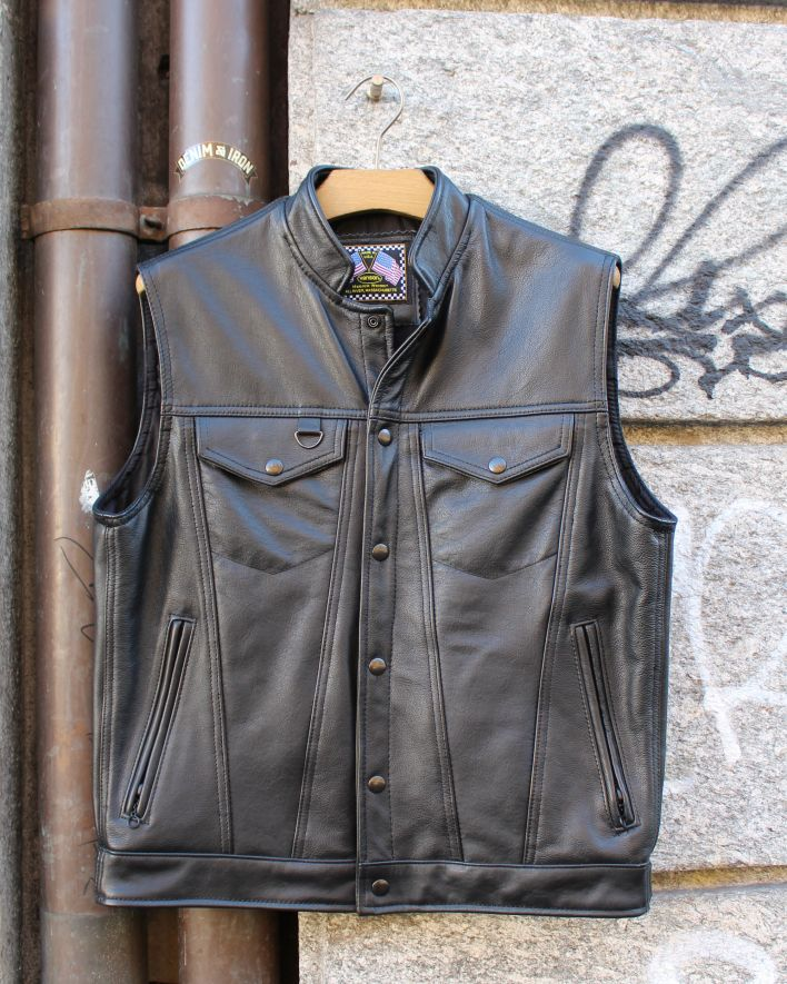 Vanson Revolver Vest Leather black_1