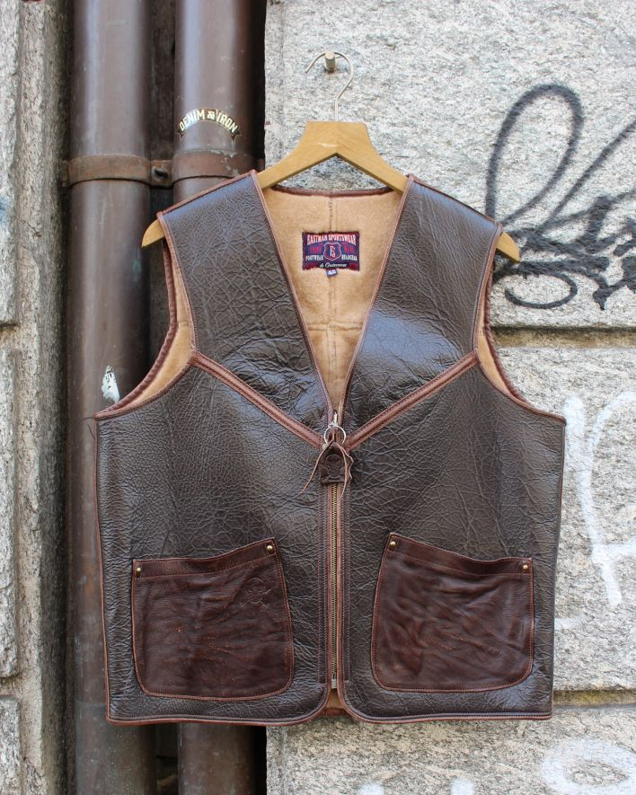 E.L.M.C. Biker Flight Vest vintage brown_1