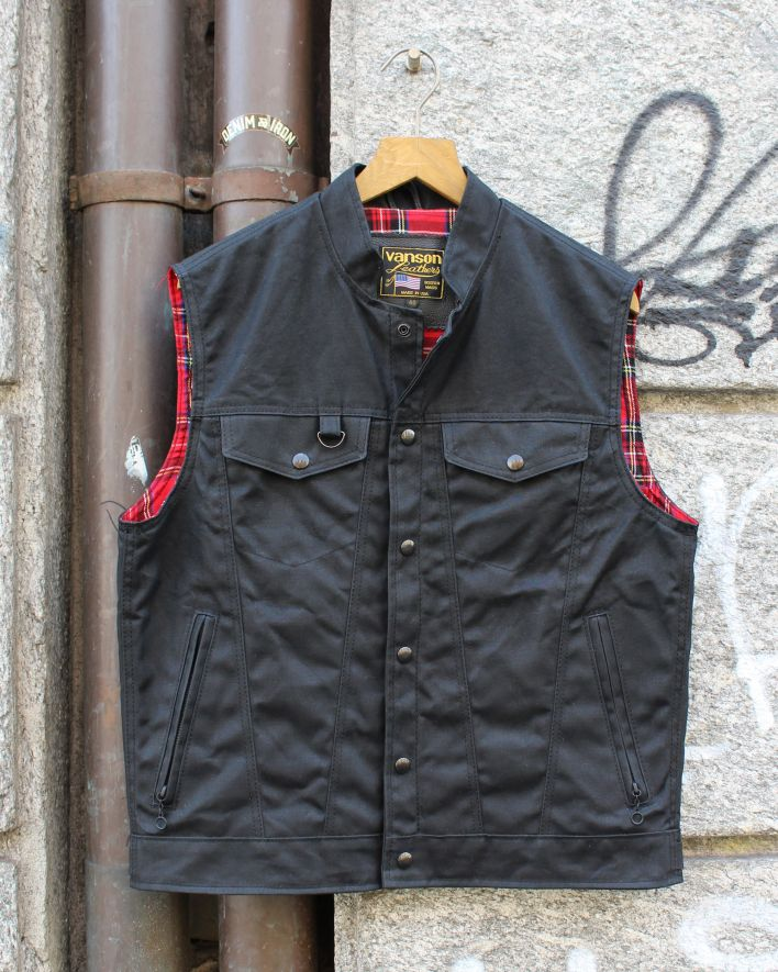 Vanson Revolver Vest waxed cotton black_1