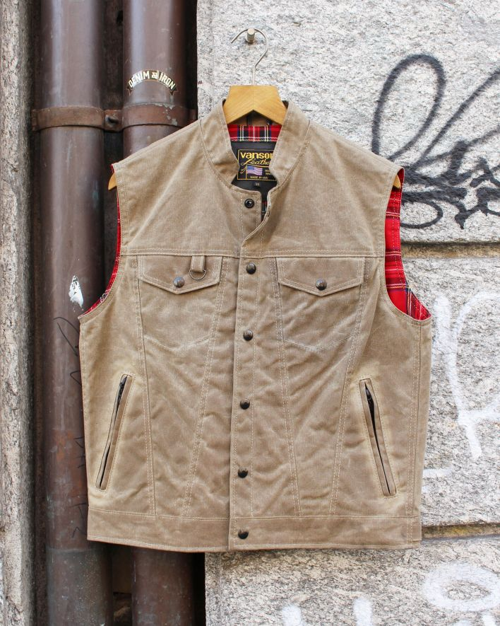 Vanson Revolver Vest waxed cotton tan_1