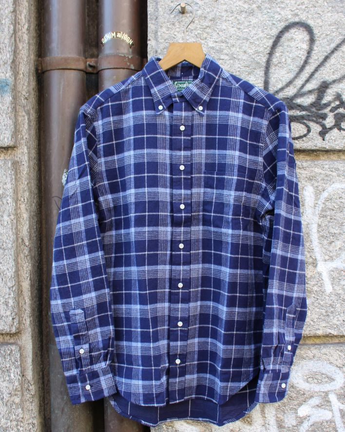 Gitman Brothers Vintage Brushed Japanese Flannel blue plaid_1