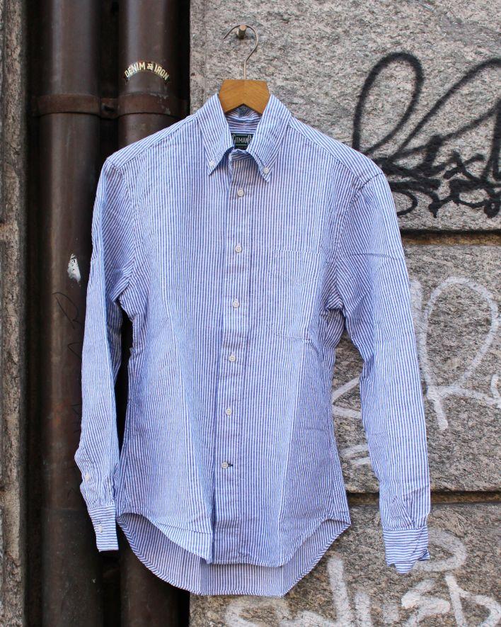 Gitman Vintage Shirt Linen Stripe white blue_1