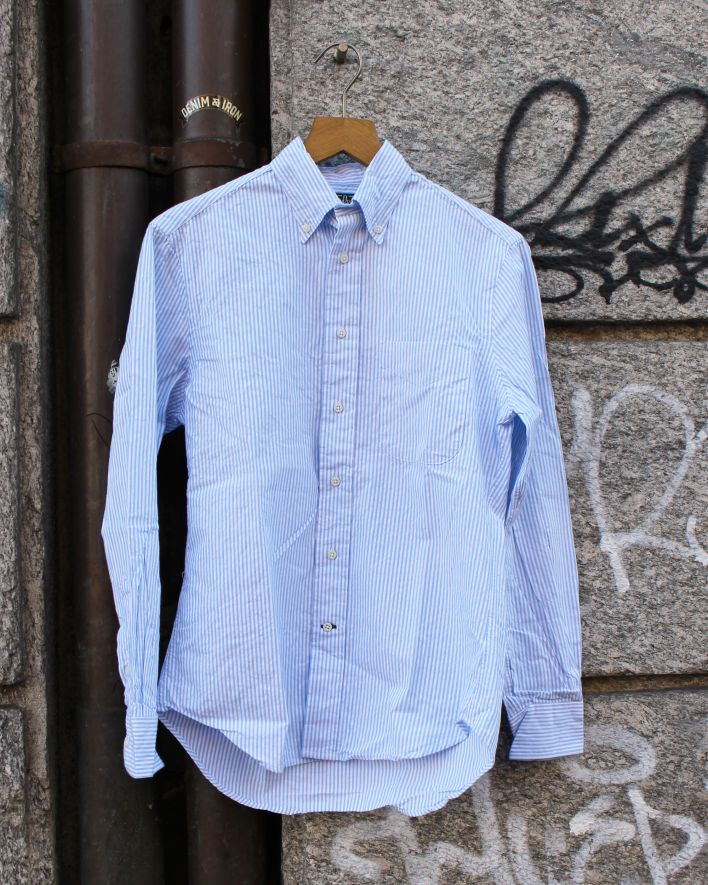 Gitman Vintage Shirt Seersucker hellblau gestreift_1