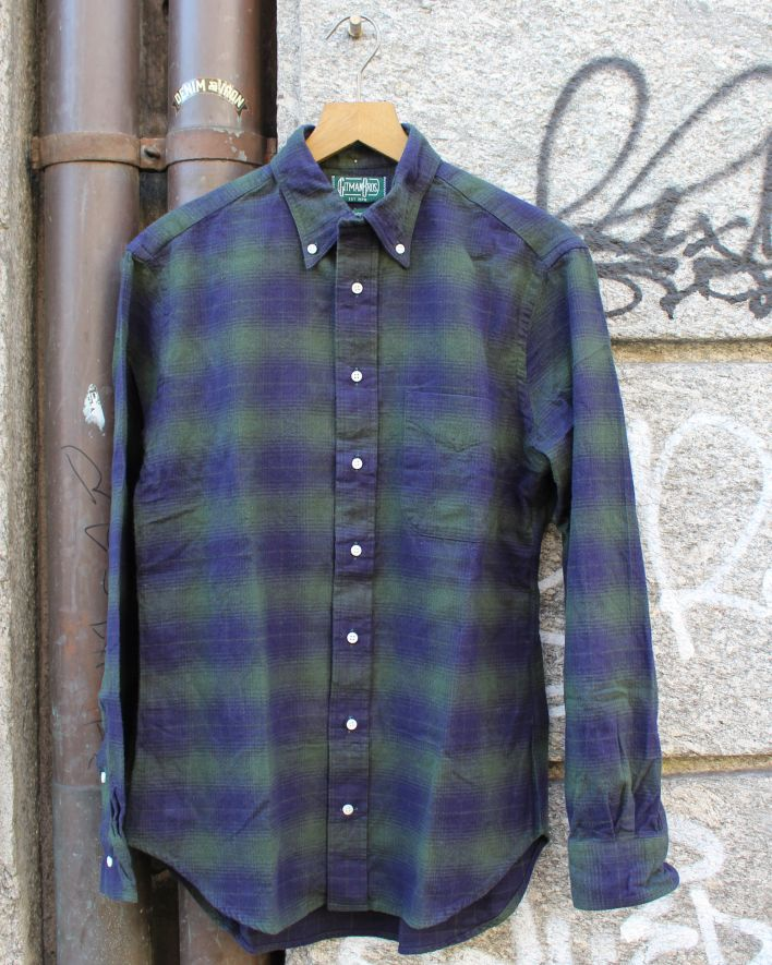 Gitman Brothers Vintage Light Weight Flannel olive blue_1