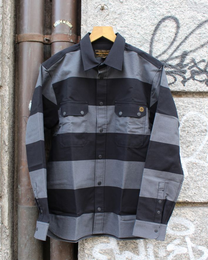Wrenchmonkees Coated Striped Shirt 144 grau schwarz_1