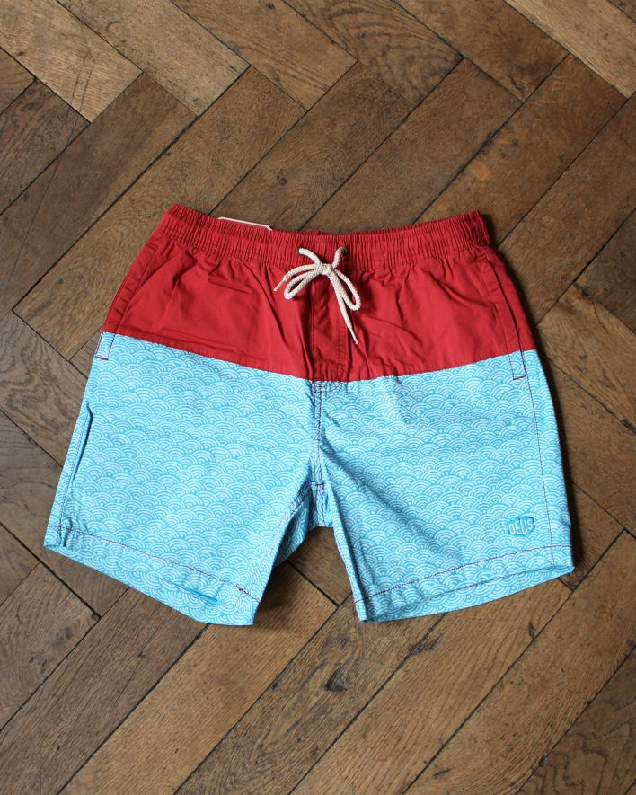 Deus Sandbar Nihon Wave Colorblock Boardshort_red blue_1