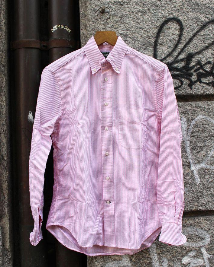 Gitman Vintage Stripe Oxford Hemd Baumwolle rot gestreift_1