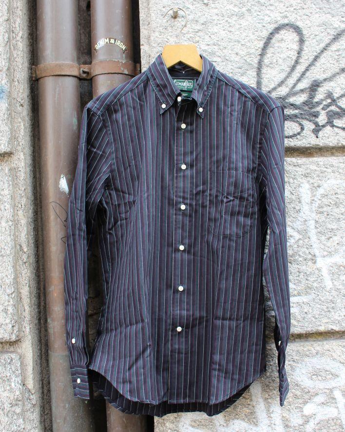 Gitman Vintage Striped Twill Hemd Baumwolle grün_1
