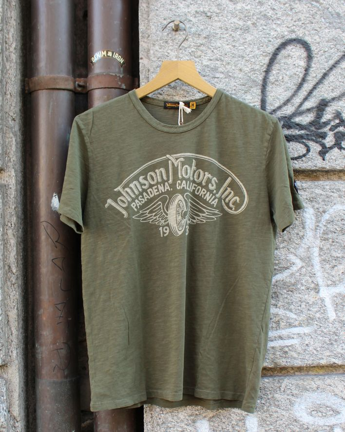 Johnson Motors Winged Wheel T-Shirt olive drab_1