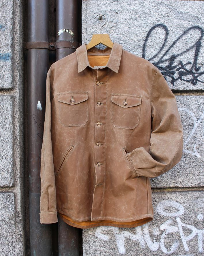 Dehen Crissman Overshirt waxed cotton tan_2