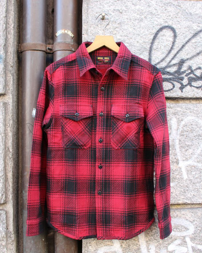 UES Extra Heavy Flannel Shirt 15.5 oz red plaid_1