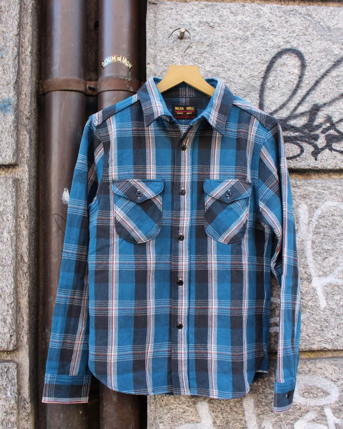UES Heavy Flannel Shirt 14.5 plaid blue_1