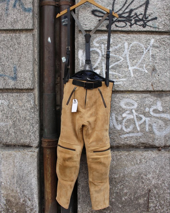 El Solitario Rascal Leather Motorcycle Pants beige_1