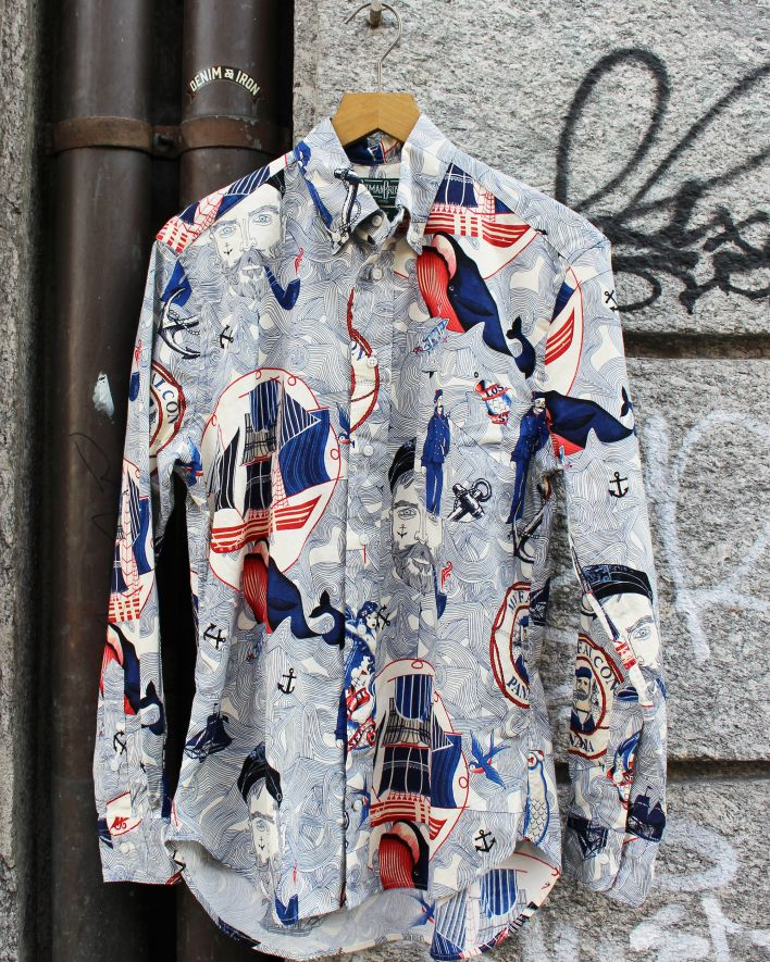 Gitman Vintage Lost and Sea Shirt white printed_1