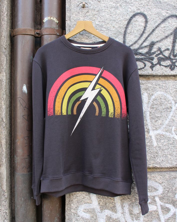 Lightning Bolt Rainbow Crew Neck Sweater black_1