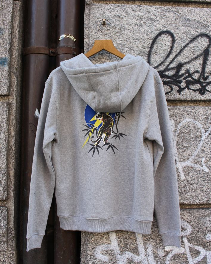 Lightning Bolt Tiger Zip Hoodie grey_5