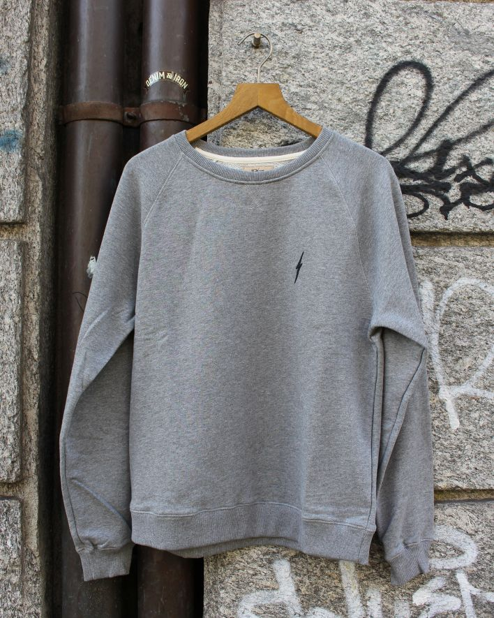 Lightning Bolt Essential Crew Neck Fleece Sweater grey_1
