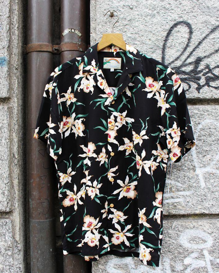 Paradise Found Star Orchid Hawaii Shirt black_1