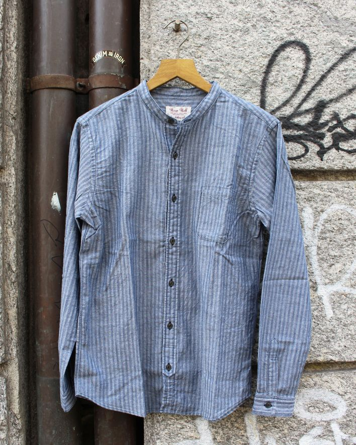 UES Band Collar Shirt chambray_1