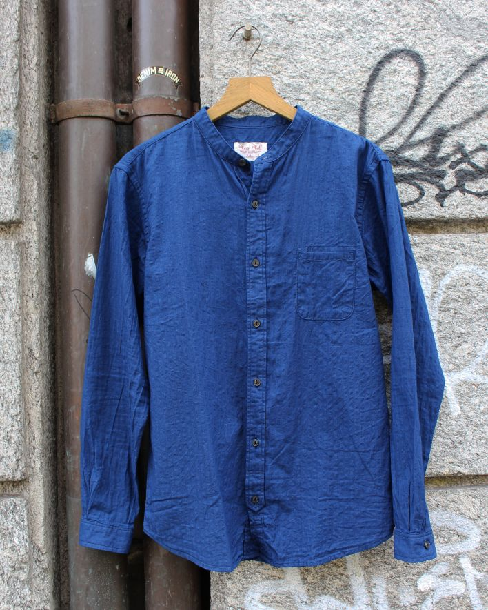 UES Band Collar Shirt indigo_1