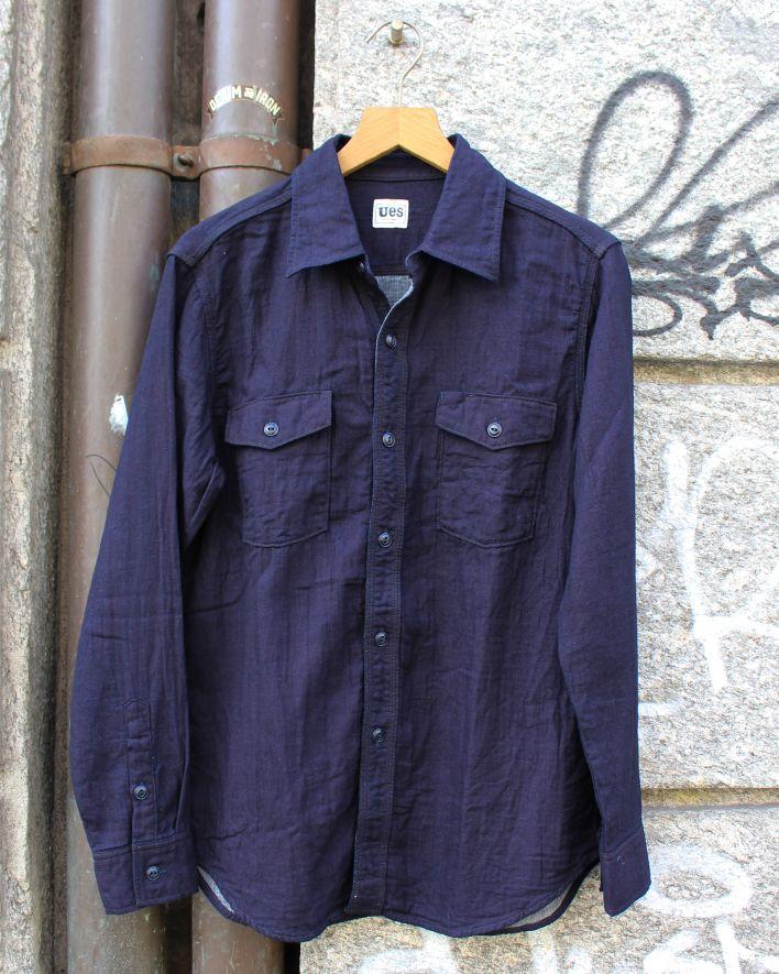 UES Gauze Shirt indigo_1