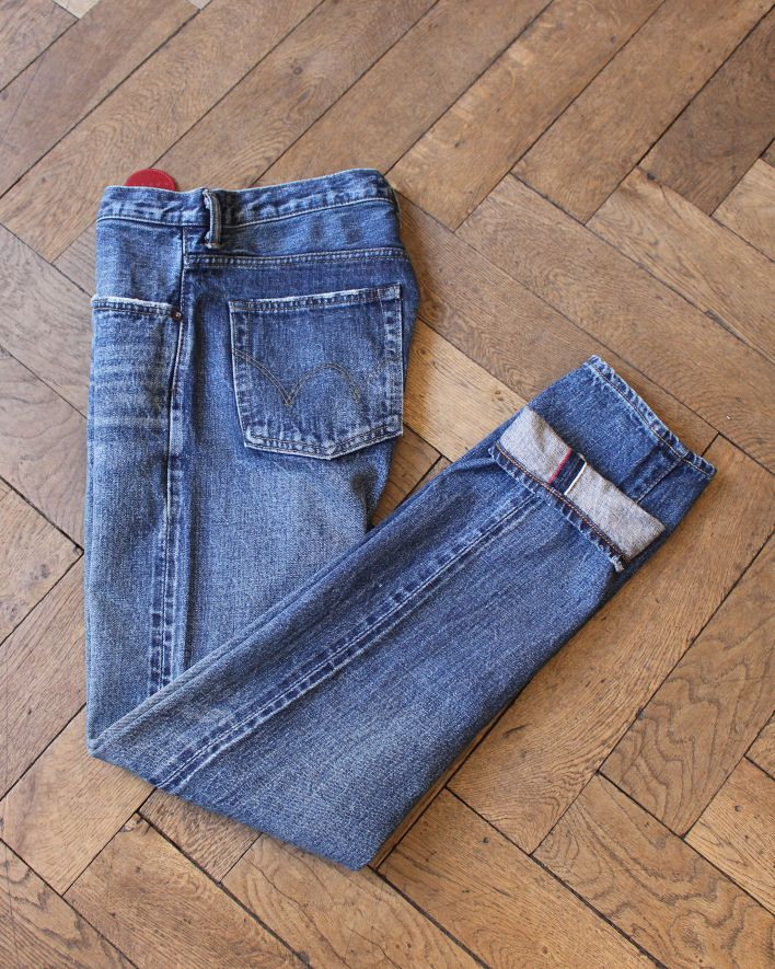 Edwin Classic tapered Jeans blue mid-light used Japan_1