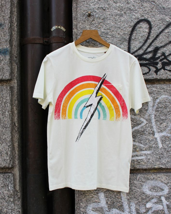 Lightning Bolt Rainbow Pocket Tee white_1