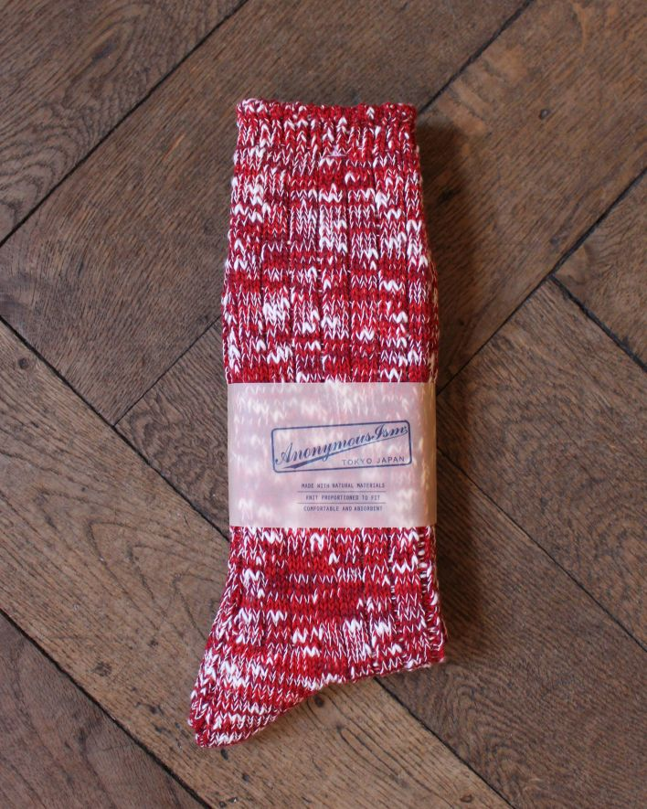 Anonymous Slub Crew Socks red_1