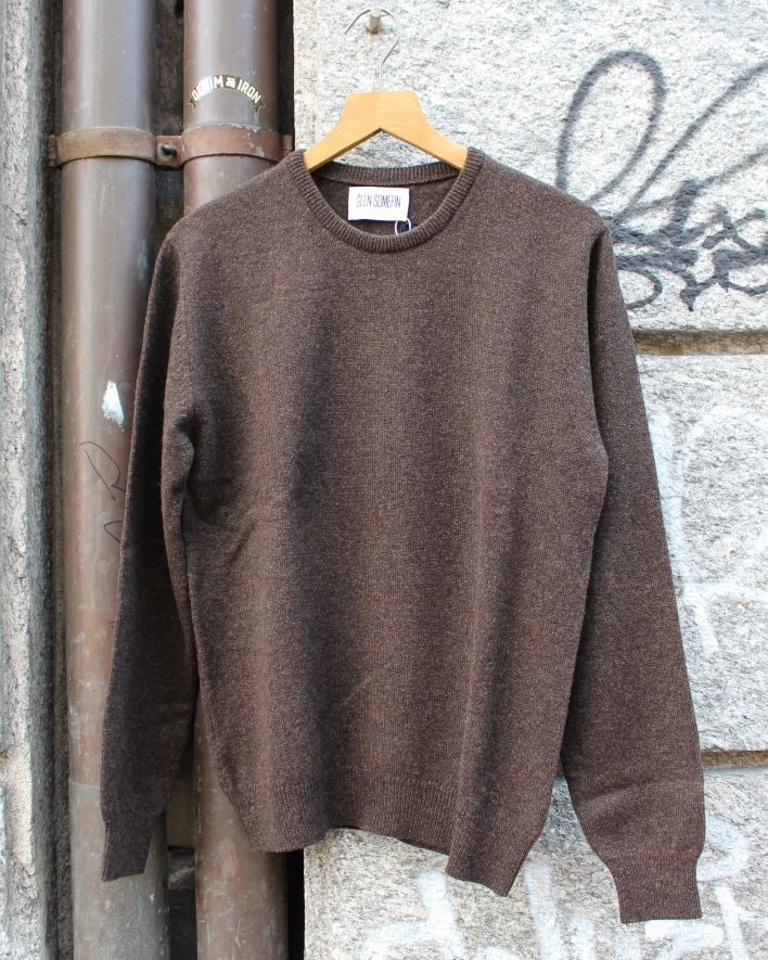Glen Somefine Classic Crew Neck Sweater Lambswool cocoa_1.1