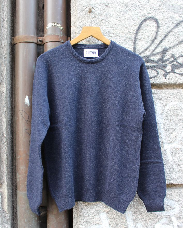 Glen Somefine Classic Crew Neck Sweater Lambswool indigo melange_1