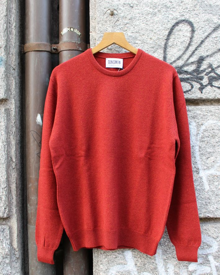 Glen Somefine Classic Crew Neck Sweater Lambswool rusty_1