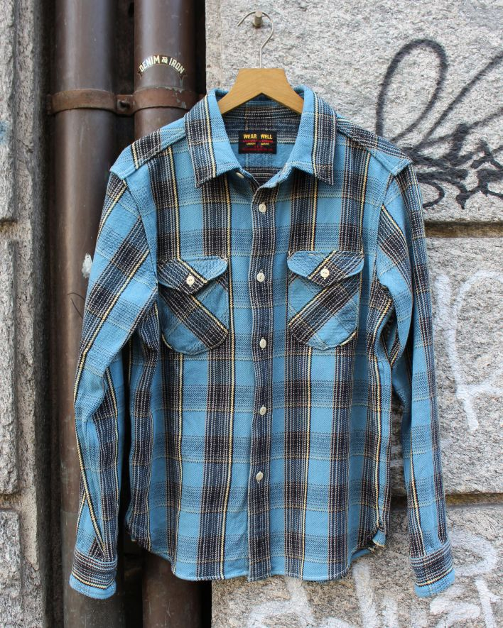 UES Heavy Flannel Shirt blue_1