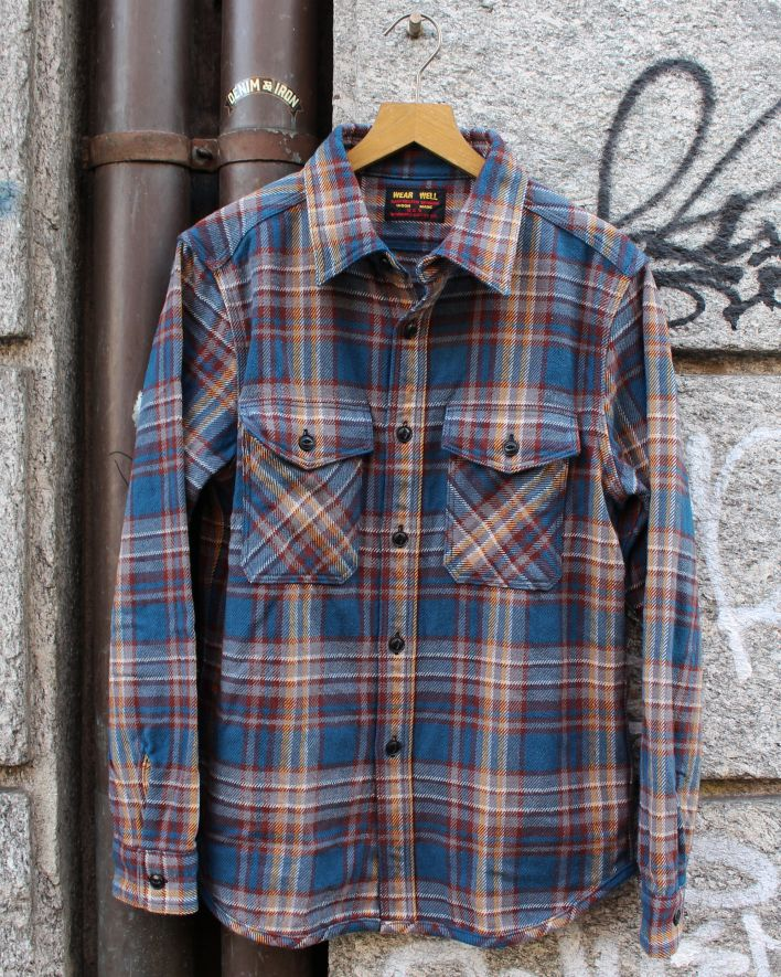 UES Extra Heavy Flannel Shirt navy_1