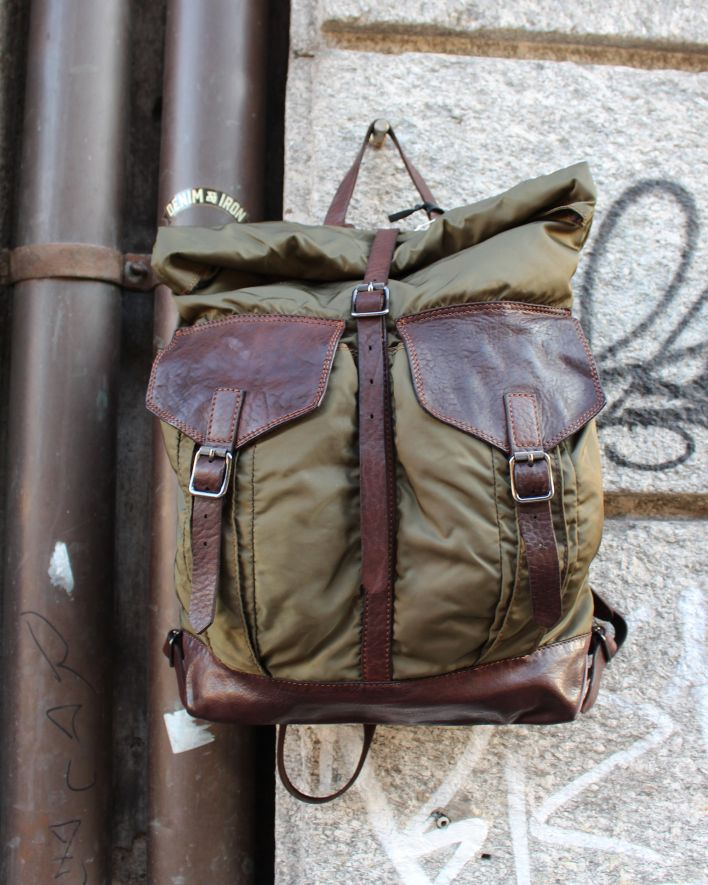 Campomaggi Backpack Nylon Leather military brown_1