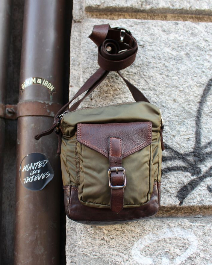 Campomaggi Crossbody nylon leather military brown_1