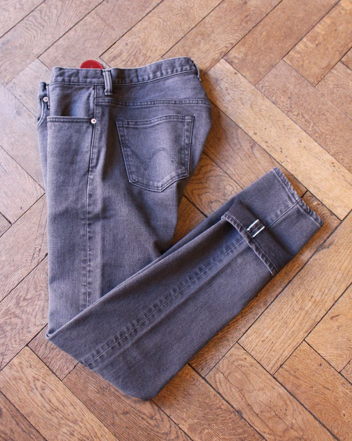 EDWIN Slim Tapered Kaihara black black mid used Japan Jeans_1