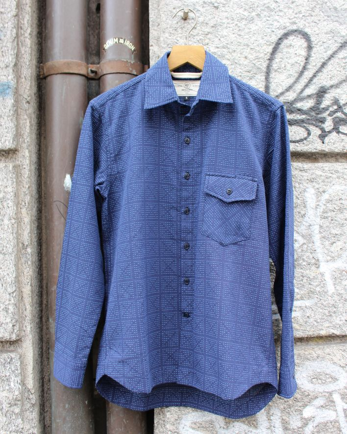 RGT Oxford Work Shirt navy X-Stitch Sashiko_1