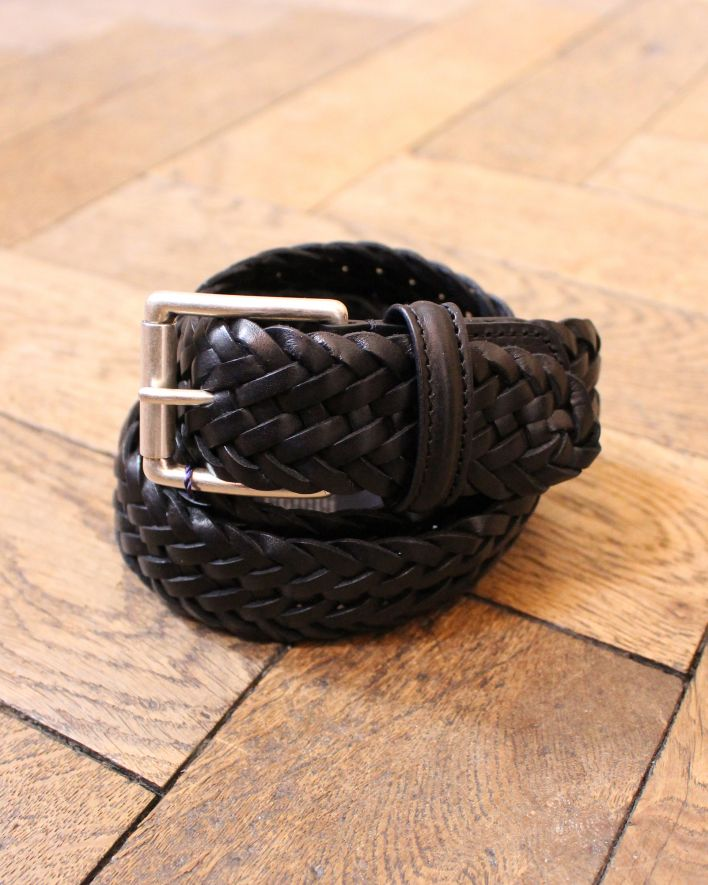 Anderson's Woven Leather Belt black_1