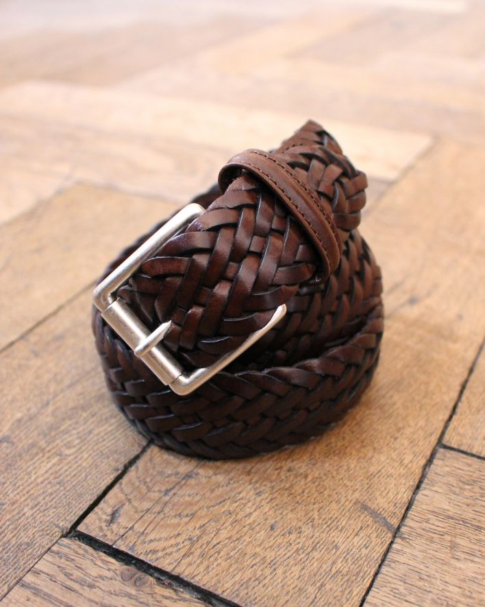 Anderson's Woven Leather Belt dark brown_1
