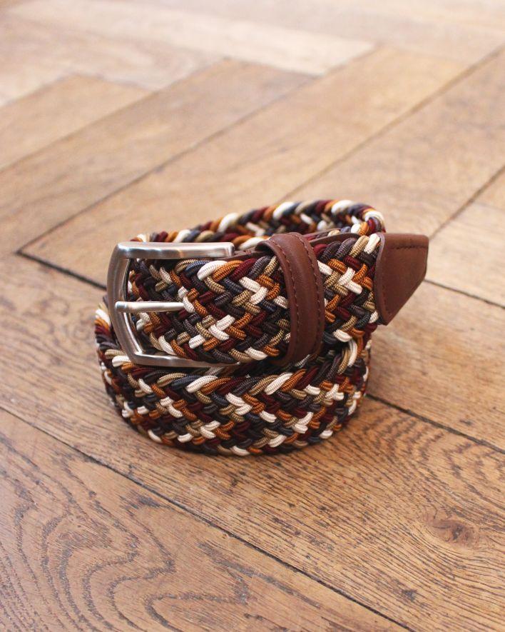 Anderson's Woven Textile Leather Belt multicolor burgundy_1