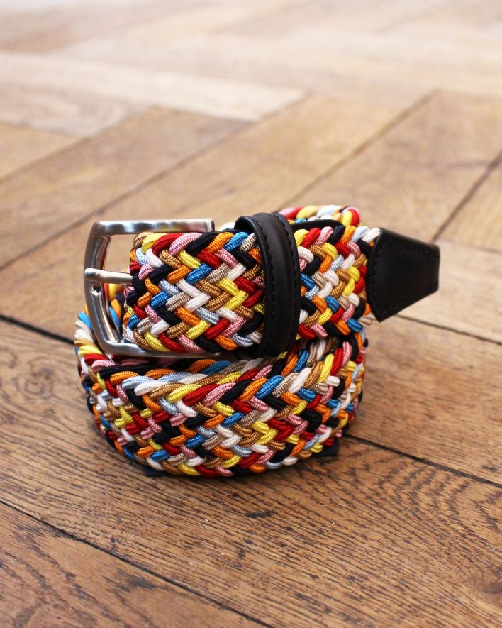 Anderson's Woven Textile Leather Belt multicolor navy_1