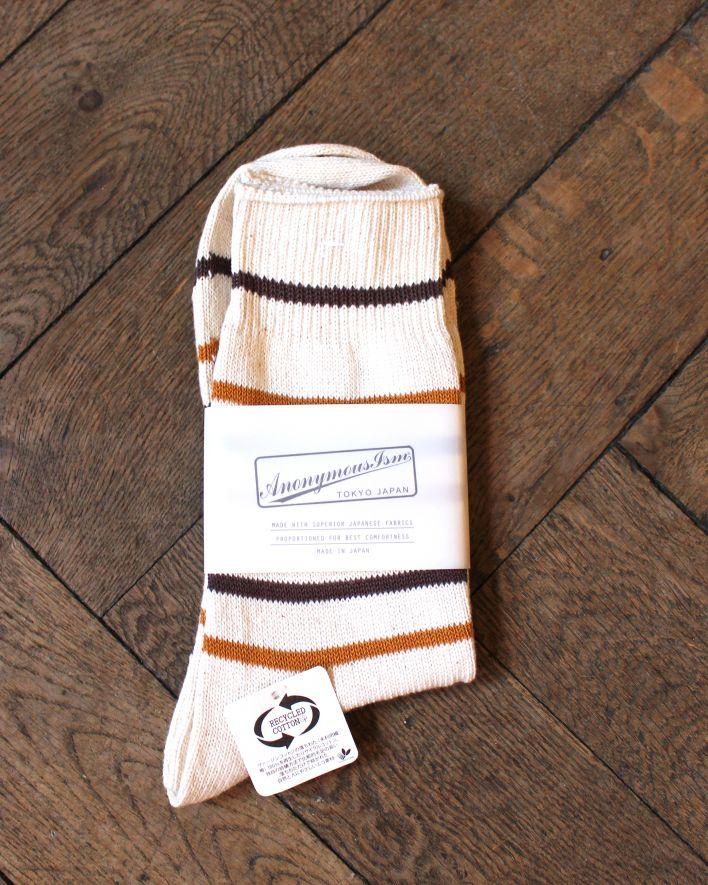 Anonymous Re Cotton Stripe 3Q Socks brown mustard_1