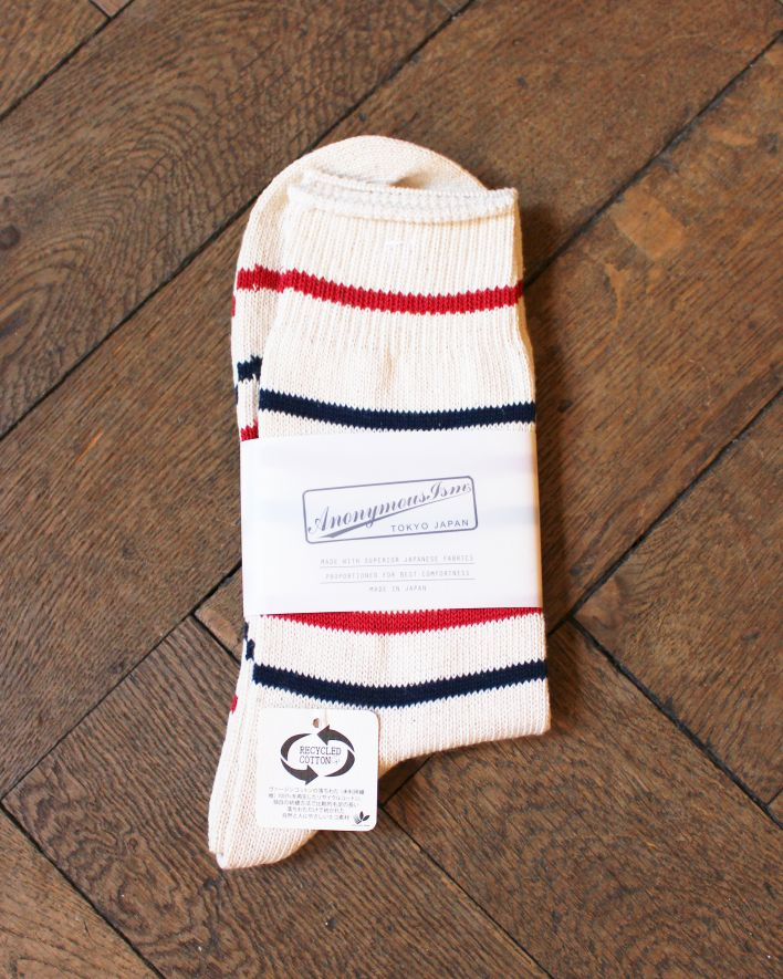Anonymous Re Cotton Stripe 3Q Socks red navy_1