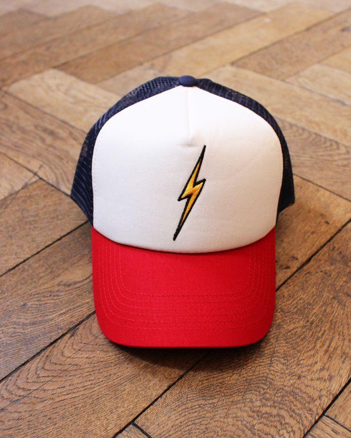 Lightning Bolt BOLT Trucker Cap white blue red_1