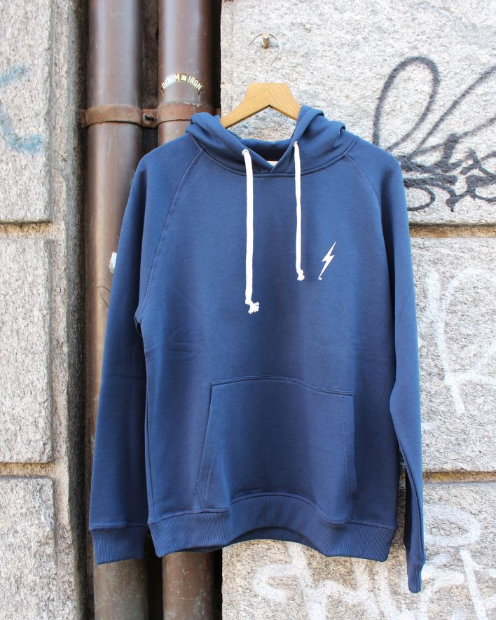 Lightning Bolt Essential Fleece Hoodie dress blue_1