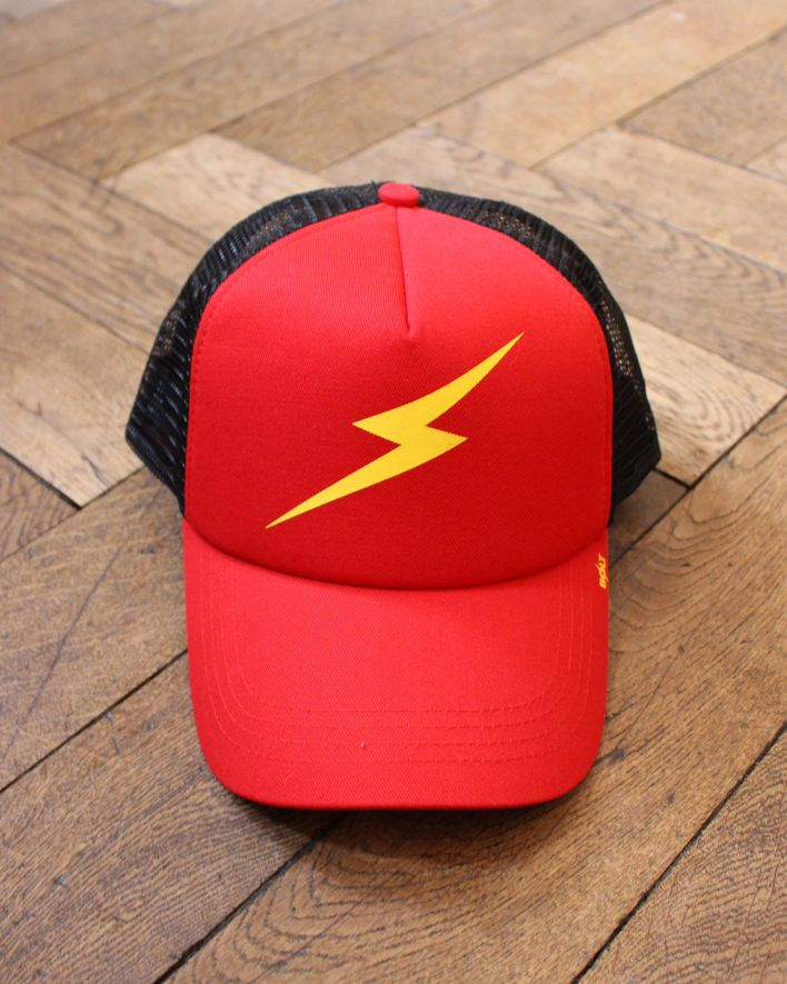 Lightning Bolt Forever Trucker Cap red black_1