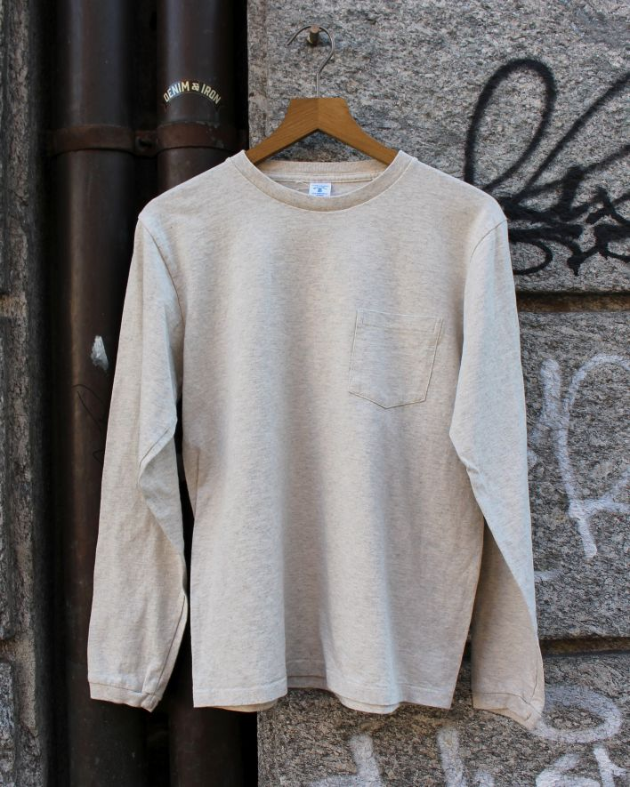 Velva Sheen Tubular Longsleeve with Pocket oatmeal_1