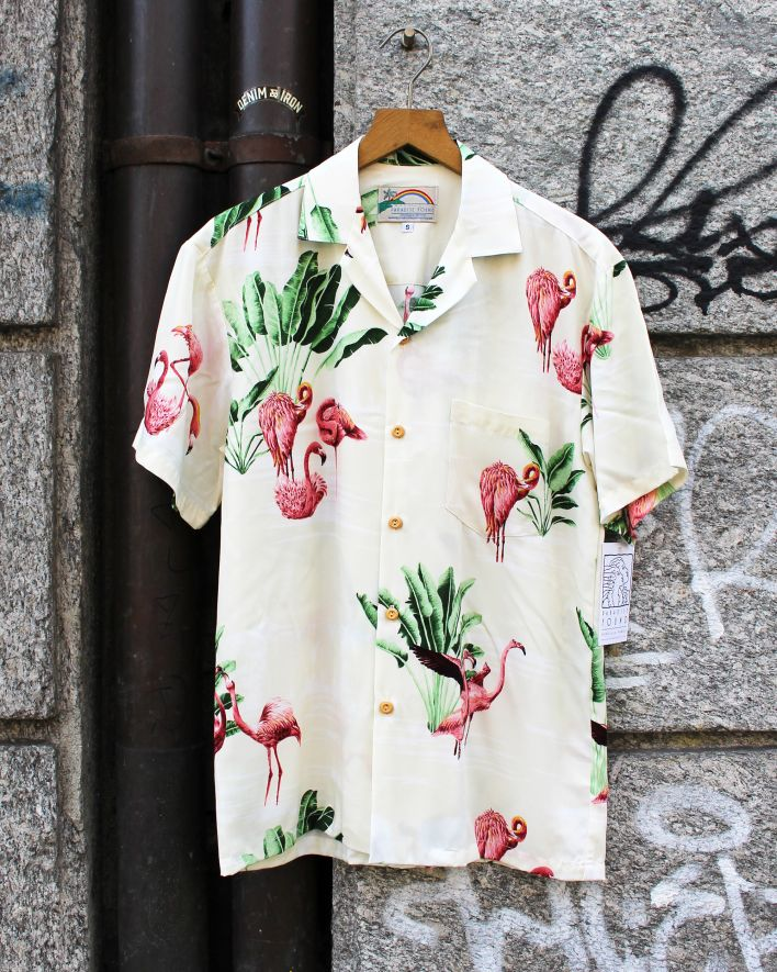 Paradise Found FLAMINGO Hawaii Shirt beige_1