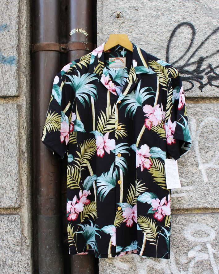 Paradise Found ORCHID BAMBOO Hawaii Shirt black_1