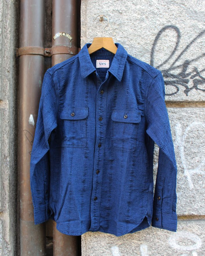 UES Hard Twist Yarn Shirt indigo_1